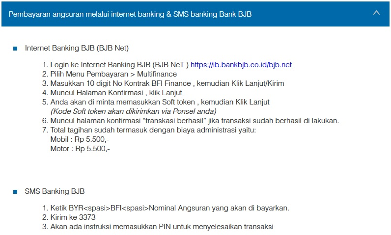 Petunjuk Cara Pembayaran Angsuran Melalui Internet Banking Bank BJB dan SMS Banking Bank BJB