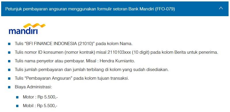 Petunjuk Cara Pembayaran Angsuran Menggunakan Formulir Setoran Bank Mandiri (FFO-079)