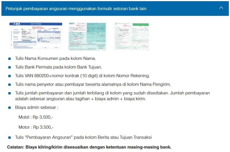 Petunjuk Cara Pembayaran Angsuran Menggunakan Formulir Setoran Bank Lain