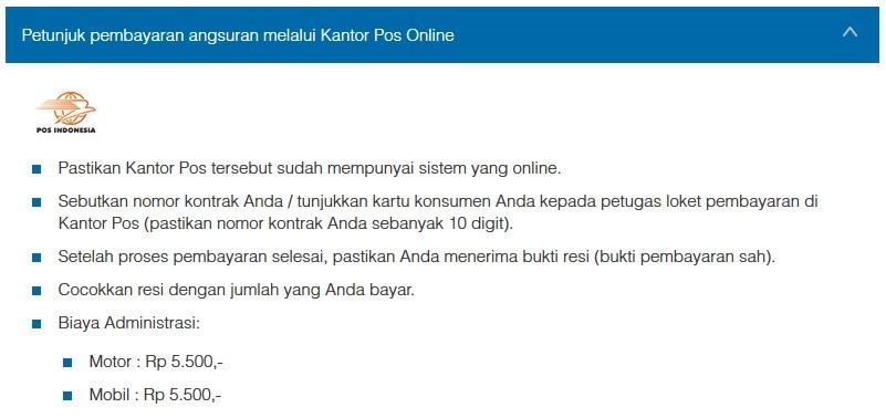 Petunjuk Cara Pembayaran Angsuran Melalui Kantor Pos Online