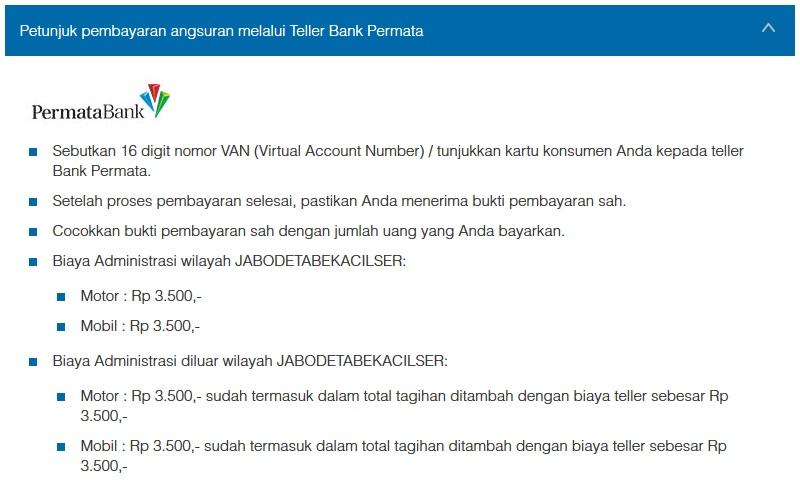 Petunjuk Cara Pembayaran Angsuran Melalui Teller Bank Permata