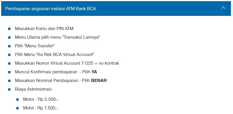 Petunjuk Cara Pembayaran Angsuran Melalui ATM Bank BCA