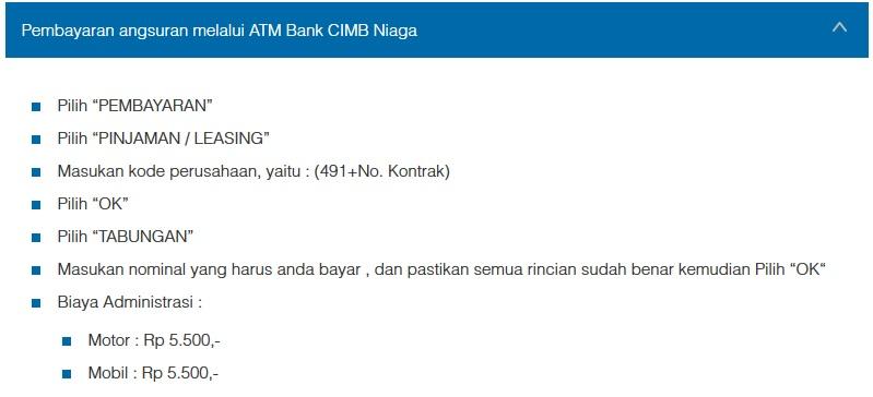 Petunjuk Cara Pembayaran Angsuran Melalui ATM Bank CIMB Niaga