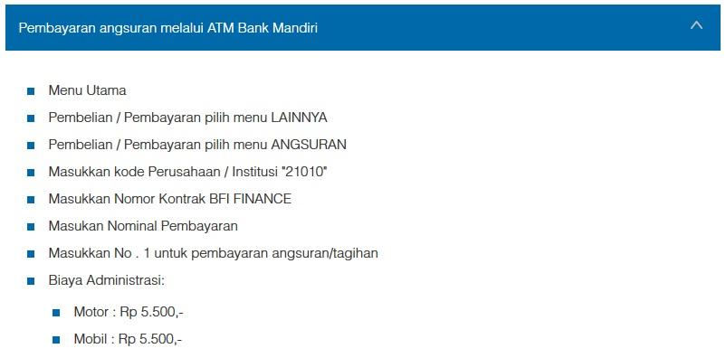 Petunjuk Cara Pembayaran Angsuran Melalui ATM Bank Mandiri