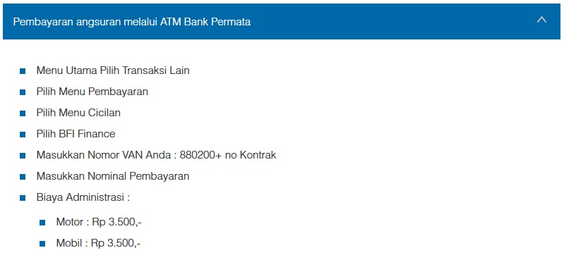 Petunjuk Cara Pembayaran Angsuran Melalui ATM Bank Permata