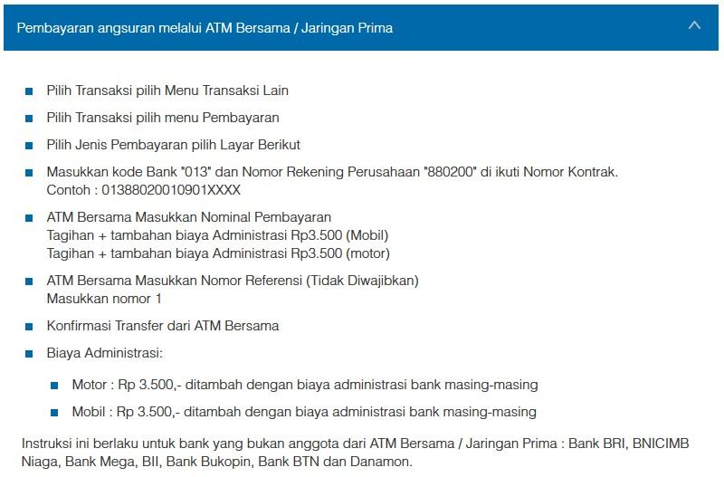 Petunjuk Cara Pembayaran Angsuran Melalui ATM Bersama / Jaringan Prima