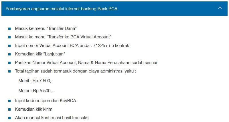 Petunjuk Cara Pembayaran Angsuran Melalui Internet Banking Bank BCA